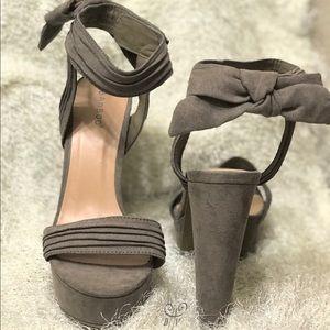 Brown-Grey Faux Suede Platform Heels